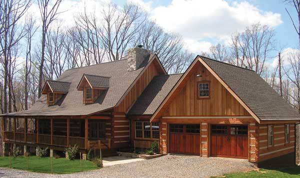 Muirfield i by stonemill log timber homes for Log home plans with garage