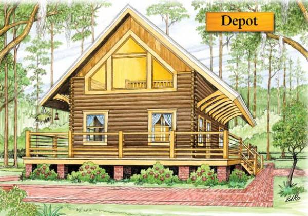 Depot log home plan by bk cypress log homes for Floor plans home depot