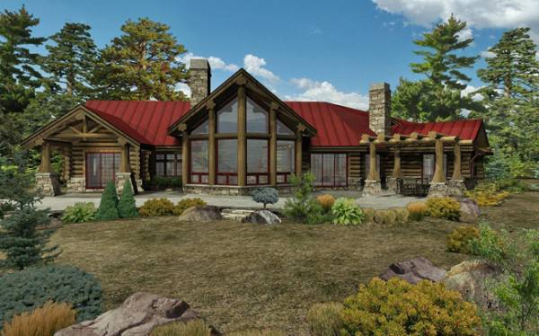 Kodiak trail ii log home floor plan by wisconsin log homes for Log cabin ranch home plans