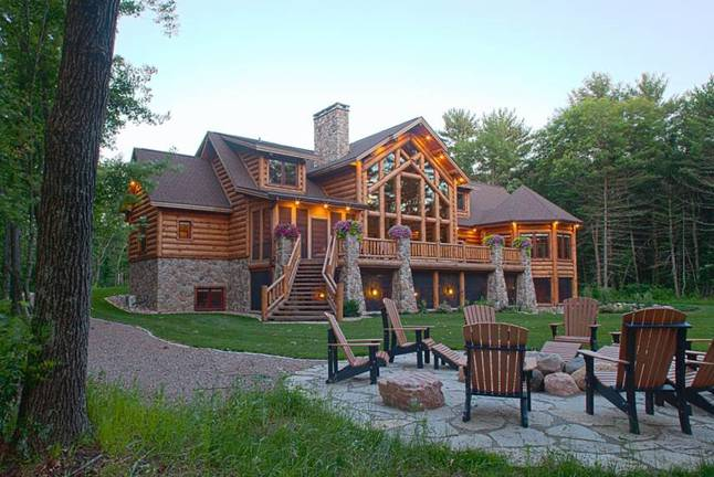 luxury log home designs. wisconsin2 exterior rear Floor Plans  Luxury Log Homes Page 3